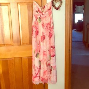 Pink Floral Bridesmaid/Prom Dress